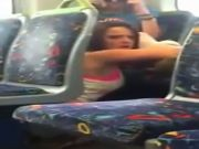 Female splattered on phone cam licking her mate out on the train
