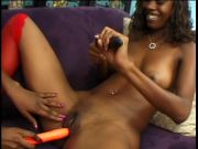 2 super-cute youthfull ebony lezzies enjoy to slurp cooch and play with vibrates and dildo