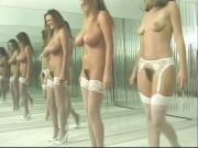 Brunettes dance nude in tights and heels
