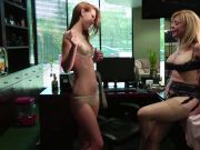 Blonde MILF entices a lusty lady to plumb in her office