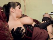 Messy maid gets on her knees to eat her dominatrix pussy