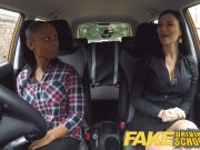 Fake Driving School chesty ebony fails her test with lesbian