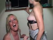 Brit Wifey cheats at CFNM Bachelorette party with lesbian