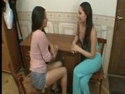 Unshaved all girl twins tonguing and toying