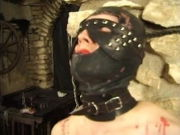 Hooded Bi-atch gets tormented by her mistress