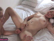 Smallish g/g amateurs frigging their pussies on the bed